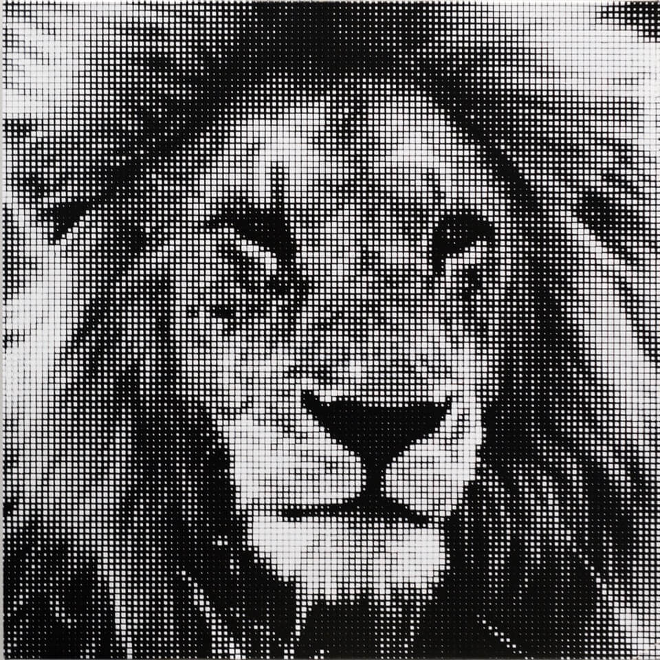 Lion 1, 24 x 24 Inches, Stenciled Spray Acrylic on Linen, 2019 - William Betts