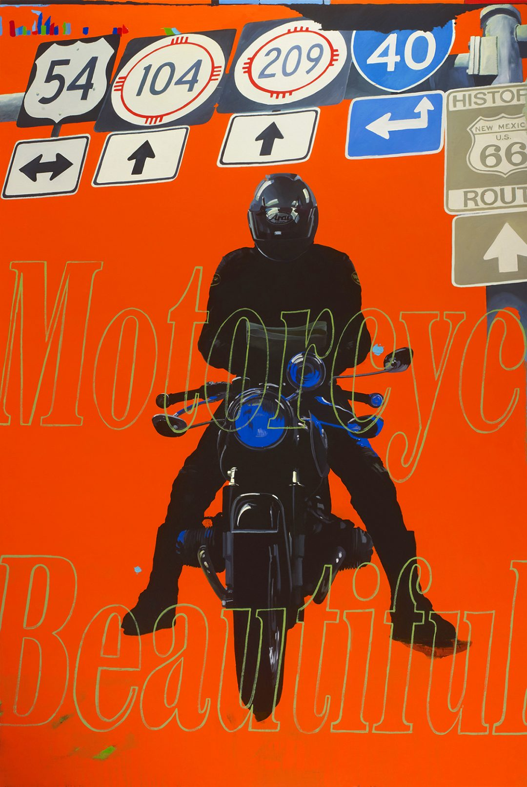 Orange Rider, Motorcycle Beautiful (Navigating Man, From Eight Days) - James Lahey