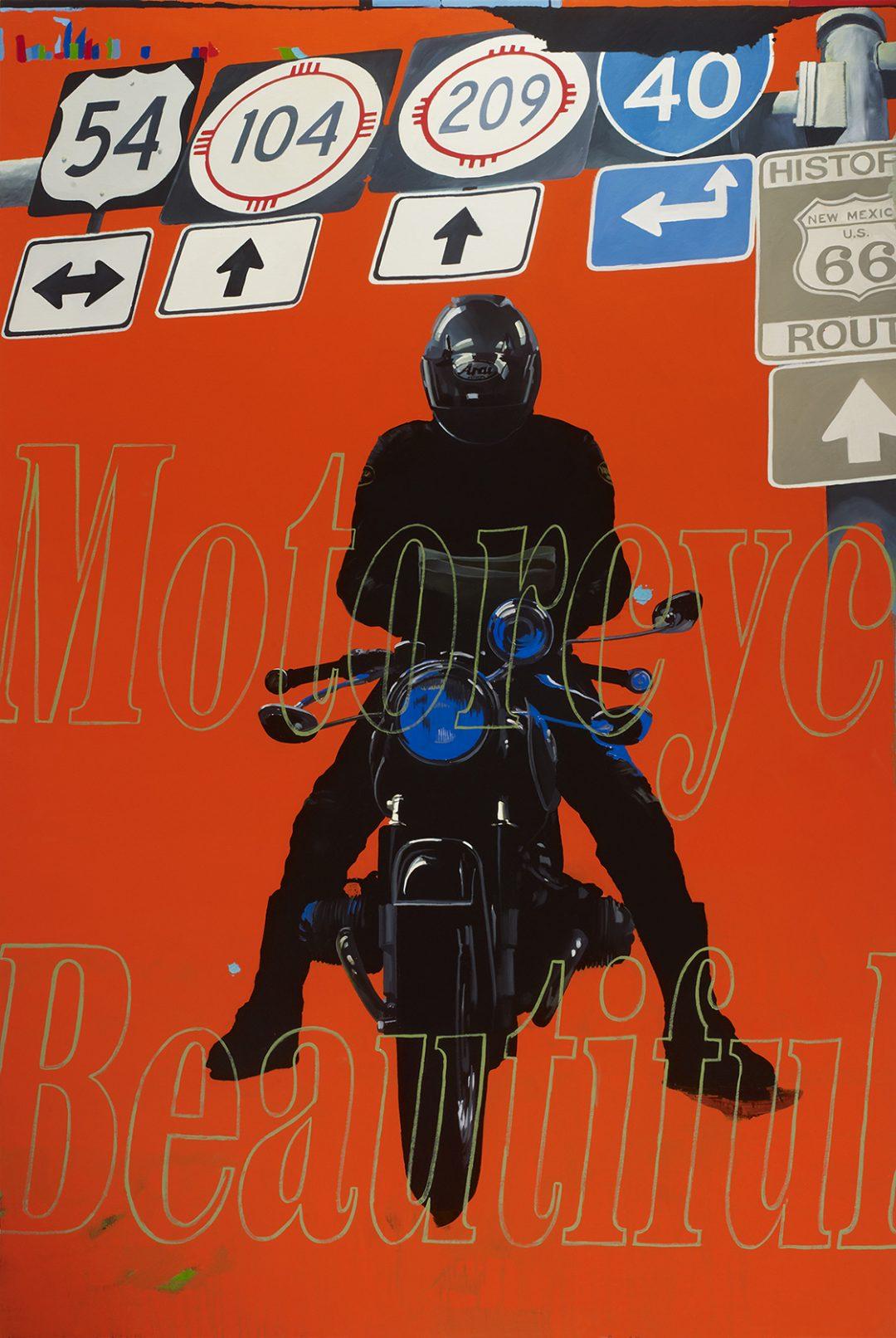 Orange Rider, Motorcycle Beautiful (Navigating Man, From Eight Days) - James Lahey