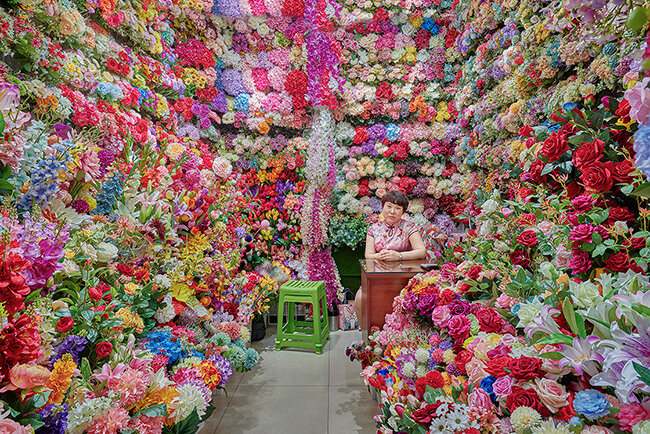 Flower Vendor, Yiwu, China 2019 by David Burdeny at Kostuik Gallery